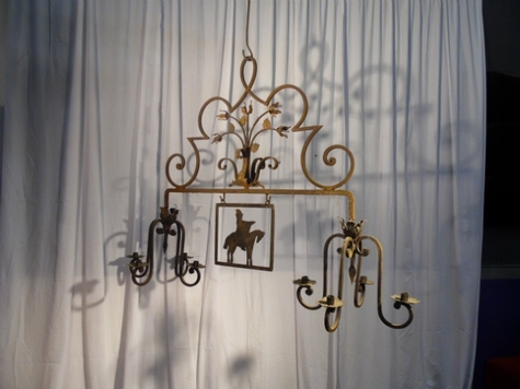 chandelier fer forge decor cheval